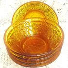 5 pcs Vintage Indiana Glass Tiara Amber Gold Sandwich Glass Dessert Berry Bowls