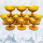 10 Vintage Indiana Glass Tiara Amber Gold Sandwich Glass Sherbet Cups Compotes