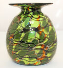 Rick Hunter Variegated Green Camouflage American Art Glass Vase Hand Blown