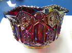 L.E. Smith Carnival Glass Bowl Red Base w/Rainbow of Color 3 1/2