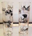 Libbey Vintage Horseless Carriage and Buggy Tumbler Tall Glasses Set of 2