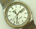 Vintage Gent's Pulsar Two-Tone Day Date Wristwatch in Stainless Steel Y513-6059