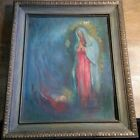 Beautiful Orig c1960 Agnes Ferguson Nativity Oil Painting Dixon IL Grand Detour