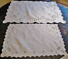 Antique 2 Linen Rectangular Doilies Eyelet Embroidery Baskets Scalloped Edges