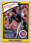 1990  GREG MADDUX - Kenner Starting Lineup Card - CHICAGO CUBS - (YELLOW)