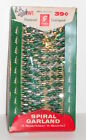 VTG CHRISTMAS GARLAND Tinsel Spiral Twisted Green Silver Franke 12 Feet Unused