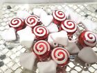 Christmas Holiday Red White Candy Cane Peppermint Ornaments Decor Set of 8