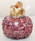 Signed and Dated Opal Art Glass Cranberry Cinderella Pumpkin