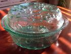 Libbey Baking Cooking Dish With Lid Glass Green Fruit Pattern Oven Proof
