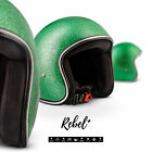 REBEL R2 Flakes Green JET HALF HELMET SCOOTER MOTORCYCLE MOPED OPEN FACE XS XL