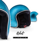 REBEL R2 Flakes Blue JET HALF HELMET SCOOTER MOTORCYCLE MOPED OPEN FACE XS XL