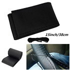 Microfiber Leather Quilted Stitch Steering Wheel Cover For Auto Car 15 inch 38cm