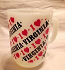 VINTAGE ANCHOR HOCKING I LOVE VIRGINIA WHITE GLASS MUG