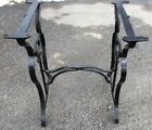 ANTIQUE CAST IRON LEGS INDUSTRIAL MACHINE AGE TABLE LEGS BASE w/ STRETCHER 27