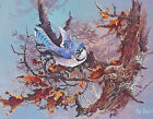 TED BLAYLOCK Two's Company Signed Blue Jay Bird Art Print Bluejay Squirrel