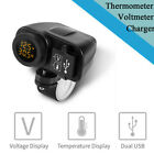 12V 24V Motorcycle 4.2A Dual USB Phone Charger Voltmeter Thermometer with Switch