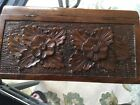 """"""" wooden box With Two Carved Flowers 🌺 on hinged lid"""