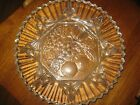 Round Clear Glass Tray Plate Dish Star and Fruit Pattern