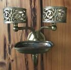 Antique Wall Mount Brass Double Cup Holder Soap Dish