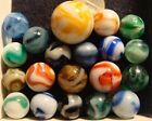 20 Vintage Used WV Swirl Marbles Alley Agate Ravenswood Orange Yellow Shooter