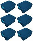 Sterilite 12 Gallon Latch and Carry Storage Tote True Blue 6 Pack  14447406