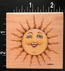 SMILING HAPPY SUNS FACE CELESTIAL All Night Media Wood Mounted Rubber Stamp