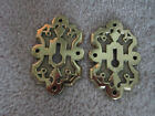 ORNATE VINTAGE ANTIQUE BRASS KEY HOLE COVERS - PAIR OF TWO