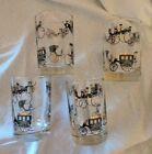 4 Vtg Libbey Black Gold Carriage Glasses Barware 5 oz 3 1/2 in Tall Shot? Cars
