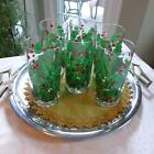 Set of 6 Georges Briard Signed Mid-Century Holly Berry Highball Glasses Barware