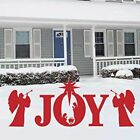 Joy Nativity Scene Yard Sign Christmas Holiday Large Outdoor Decoration in Red