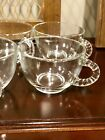8 Vintage Federal Glass/Punch Bowl Cups Clear/Beaded Handle