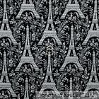 BonEful Fabric Cotton Quilt Black BW Eiffel Tower Flower French Country L SCRAP
