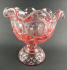 1 Vintage Moon and Stars Pattern Glass Pink Crimped Open Compote EAPG