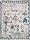 Antique 1818 Ann Eliz Hempsell Aged 12 English Folk Art Pictorial Sampler NR yqz