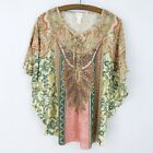 Chicos Large Size 3 Blouse Short Sleeve Rhinestone Floral Paisley Pink Green
