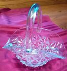 Vintage 8-inch clear Indiana Glass basket Monticello pattern, applied handle