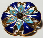 TURQUOISE BLUE CHAMPLEVE ENAMEL GLASS BUTTON