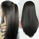 Yaki Straight Synthetic Lace Front Wig Heat Resistant Brazilian Lace Wigs Black