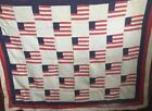 Antique FLAG Quilt Hand Stitched NO RESERVE $1,00 Better LOOK