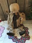 PRIMITIVE Rag Stuffed Torn And Tattered Snowman Doll Winter Christmas Doll