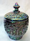 button carnival glass candy dish w/lid mint