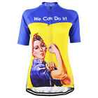 We Can Do It Women Cycling Jersey Retro Road Pro Clothing MTB Short Sleeve Bike