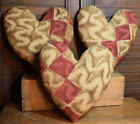 Primitive 3 Quilt Hearts Valentines Bowl Fillers Cupboard Tucks Handmade Red
