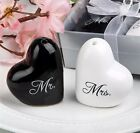 Mr And Mrs Heart Shaped Salt Shakers Black And White Wedding Free Shipping