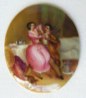 Antique Hand Painted Porcelain Medallion - Romantic Couple