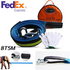 Heavy Duty 5M 16ft 8T Car Towing Rope Strap Tow Cable with Hooks Emergency Glow