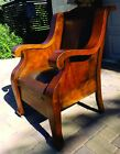 Antique Art Nouveau Arts and Crafts Solid Burl wood Arm Club Chair Springs seat