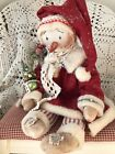 PRIMITIVE SNOWMAN DOLL WINTER RED WOOL CREAM VINTAGE SNOWFLAKE BOTTLE BRUSH TREE