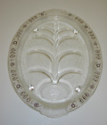 Fire King Oval Footed Meat Platter Tree of Life Juice Wells Gold Teardrop Trim