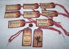 Valentine's Day~Primitive~Love Potion~Linen Cardstock~Gift~Hang~Tags